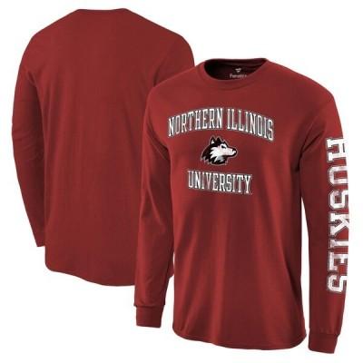 カレッジ Tシャツ NCAA ノースイリノイ大学 ハスキーズ ディストレスト アーチ オーバー ロゴ ロングスリーブ レッド