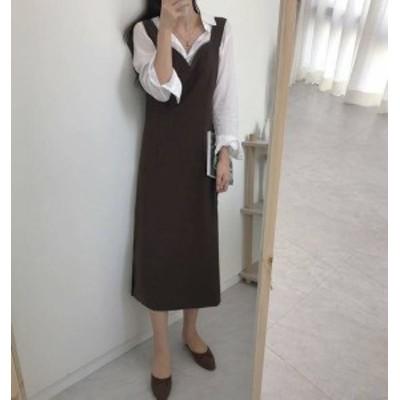 2色 ワンピース ジャンパースカート ロング ハイウエスト スリット ゆったり シンプル カジュアル 無地 大人可愛い レトロ 韓国