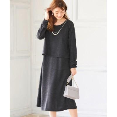 大きいサイズ ネックレス付ドッキングカットソーロングワンピース(オトナスマイル) ,スマイルランド, ワンピース, plus size dress