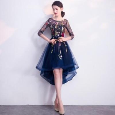 袖あり 不規則裾 フォマールドレス Seet style フェミニン パーティドレス ミディアム丈 成人式 発表会 宴会 お呼ばれドレス ファスナー