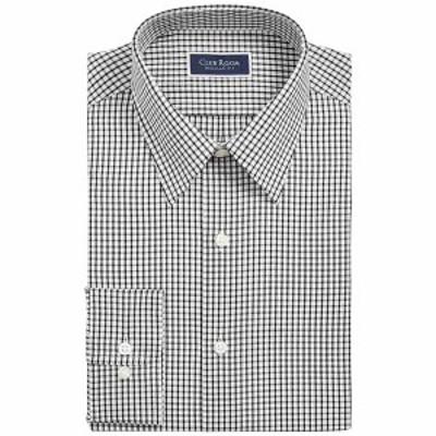 クラブルーム メンズ シャツ トップス Men's Classic/Regular-Fit Check Dress Shirt,  White Black