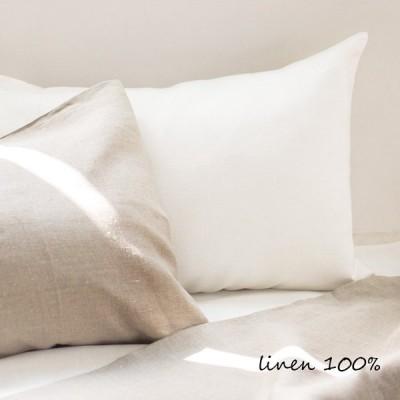ピローケース 厚手 ホワイト 43x63cm用 横入れ 封筒式 リネン 麻100%
