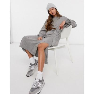 エイソス ASOS DESIGN レディース ワンピース マキシ丈 ワンピース・ドレス Maxi Dress With Tie Waist Detail In Grey グレー
