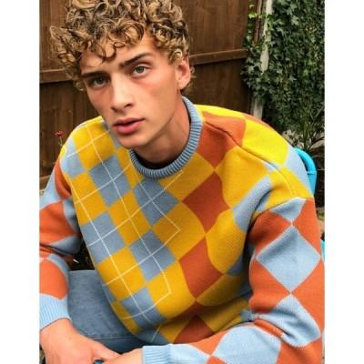 エイソス メンズ ニット・セーター アウター ASOS DESIGN knitted oversized sweater with argyle pattern