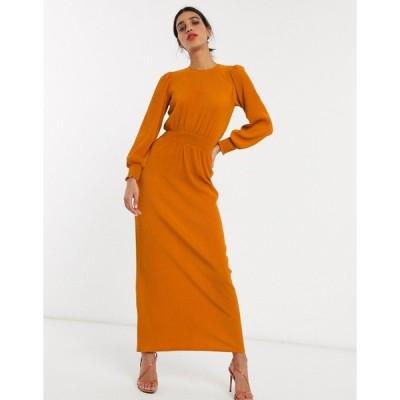 エイソス マキシドレス レディース ASOS DESIGN high neck shirred waist plisse maxi dress in rust エイソス ASOS