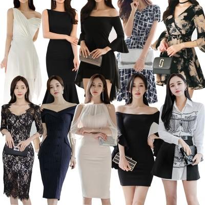 【2枚送料無料】高品質韓国ファッションolフォーマルドレスセクシーワンピースショルダーツープセット側開きの深いvネックほっそりとしたハイウエストワンピース