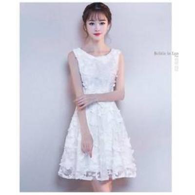 ドレス ワンピース ミニ丈 ノースリーブ レース ホワイト 30代 上品 エレガント きれいめ 春夏 結婚式 お呼れ  a869