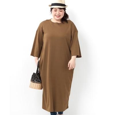 【大きいサイズ】 綿100% ゆるシルエットカットソーワンピース ワンピース, plus size dress
