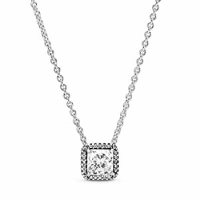 Pandora Jewelry Square Sparkle Halo Cubic Zirconia Necklace in Sterling Silver, 17.7""