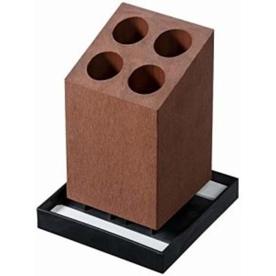 アネスティカンパニー Karari アンブレラスタンド 4本用 斜め ブラウン 約幅12.5×奥12.5×高17cm H