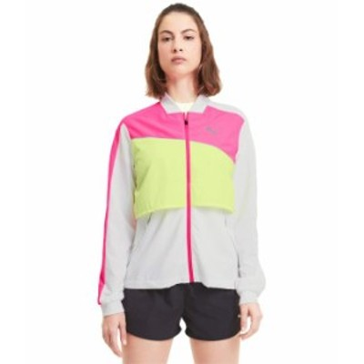 プーマ レディース コート アウター Run Ultra Jacket Puma White/Luminous Pink/Fizzy Yellow