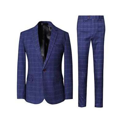 [CEEN] スーツ メンズ 上下セット チェック柄 1つボタン スタイリッシュ (ダークブルー XL)