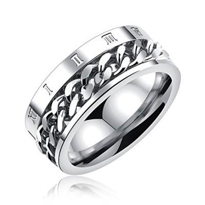 ティンティンローズTingTing Rose ステレンス製 メンズ リング 指輪 回転可能なチェーンテザー ローマ数字 リング 男性指輪 日