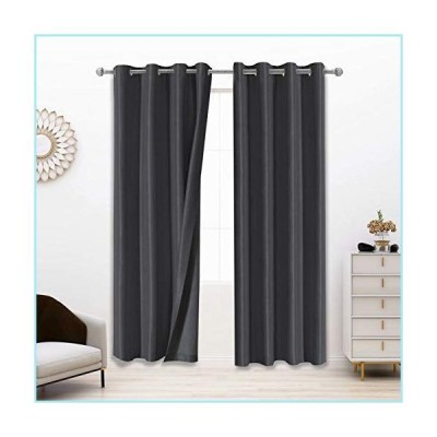 新品LORDTEX?100%?Dupioni Silk?Blackout Curtains for Bedroom?- 52 x 84 Inches, Thermal?Insulated,?Noise Reducing?Drapes Total Light