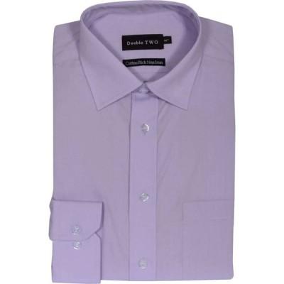 ダブルTWO Double Two メンズ シャツ トップス Plain Long Sleeved Non-Iron Cotton Rich Shirt Lilac