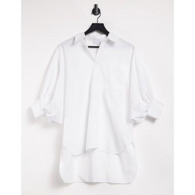 エイソス レディース シャツ トップス ASOS DESIGN oversized cotton shirt with 3/4 volume sleeves in ivory Ivory