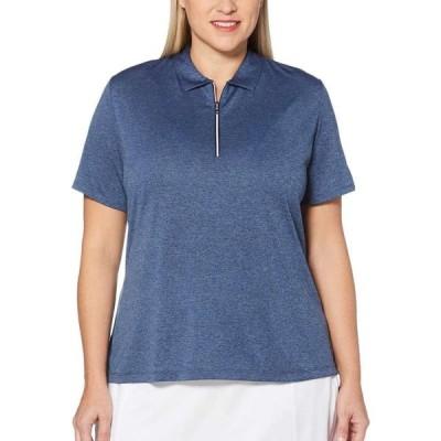 キャロウェイ Callaway レディース ゴルフ ポロシャツ トップス Heathered 1/4-Zip Golf Polo - Extended Sizes Peacoat Heather