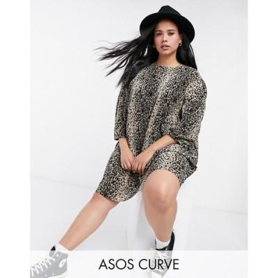 エイソス レディース ワンピース トップス ASOS DESIGN Curve plisse smock mini dress in leopard print