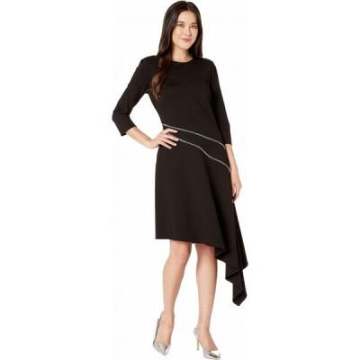ヴィンス カムート Vince Camuto レディース ワンピース ワンピース・ドレス Ponte Asymmetrical Hem Dress w/ Silver Zipper Trim Rich Black