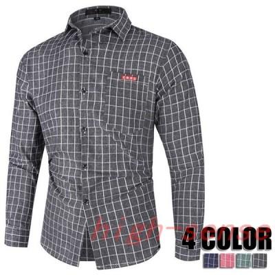 チェックシャツメンズ長袖大きいサイズ開襟シャツビジネスシャツチェックメンズゆったりシャツメンズ秋冬4色