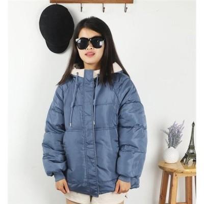 中綿ジャケット レディース 冬服 フード付き ダウンコート ゆったり 暖かい 中綿コート ショートジャケット ファスナー 厚手