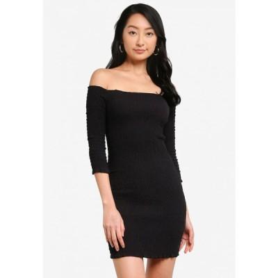 トレンドヨル Trendyol レディース パーティードレス ミニ丈 ワンピース・ドレス Off Shoulder Ruched Mini Dress Black