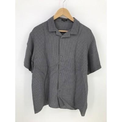 JIL SANDER チェック柄S Sレーヨンシャツ 半袖 青緑系 黒 SIZE39
