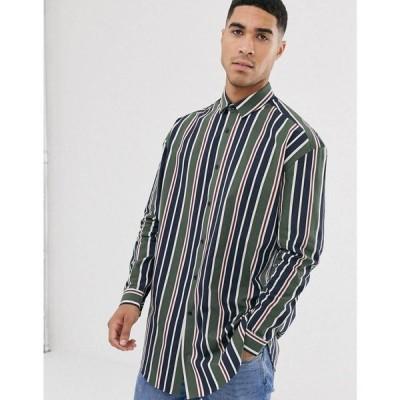 エイソス ASOS DESIGN メンズ シャツ ロング丈 トップス oversized stripe shirt in longline グリーン
