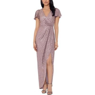 エックススケープ XSCAPE レディース パーティードレス ワンピース・ドレス Sequinned Tulip-Skirt Gown Mauve