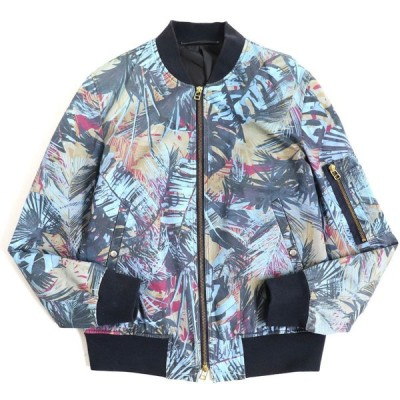 良品◆PS Paul Smith ポールスミス ボタニカル柄 ZIPUP ブルゾン/ジャケット ブルー系 S 正規品 日本製 メンズ
