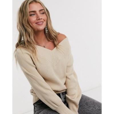 オブジェクト レディース ニット・セーター アウター Object ribbed sweater with v neck in beige