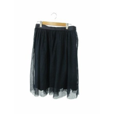 【中古】エニィスィス エニシス anySiS スカート チュール ギャザー ひざ丈 3 紺 ネイビー /TK7 レディース