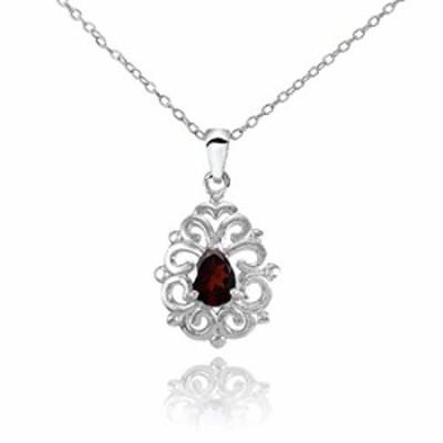 Ice Gems Sterling Silver Garnet Filigree Teardrop Necklace