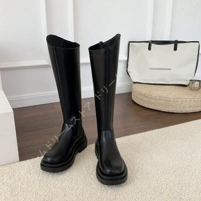 ロングブーツ レディース 黒 フラットシューズ 大きいサイズ ローヒール ジョッキーブーツ ぺたんこ 大きい 筒周り ウエスタンブーツ かわいい 靴 ヒール 5cm