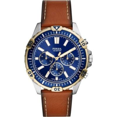 フォッシル FOSSIL メンズ 腕時計 クロノグラフ Garrett Chronograph Leather Strap Watch, 44mm Brown/Blue/Silver