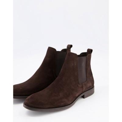 シュー Schuh メンズ ブーツ チェルシーブーツ シューズ・靴 schuh khan chelsea boots in brown suede ブラウン
