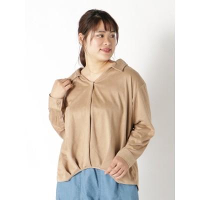 【大きいサイズ】【L-3L】フェイクスエードスキッパーシャツ 大きいサイズ トップス・チュニック レディース