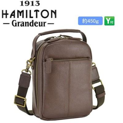 HAMILTON ハミルトン ショルダーバッグ メンズ カジュアル 2way 通勤 牛革 本革 ショルダー ハンドバッグ サコッシュブラウン ミニバッグ #16441