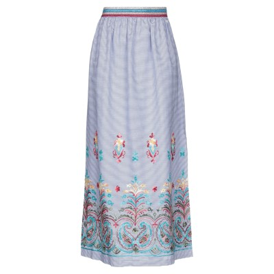 カフェノワール CAFèNOIR ロングスカート ブルー 40 レーヨン 80% / コットン 20% ロングスカート