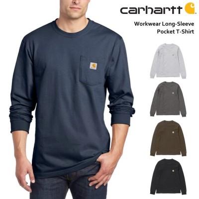 カーハート ロンT メンズ ポケット付き 長袖 Tシャツ 無地 綿 カットソー 大きめ 大きいサイズ (K126)