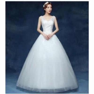 Vネック 結婚式 ブライダル 冠婚 ワンピース イブニングドレス ロング フォーマル 二次会 パーティードレス 花嫁 プリンセスライン 着痩
