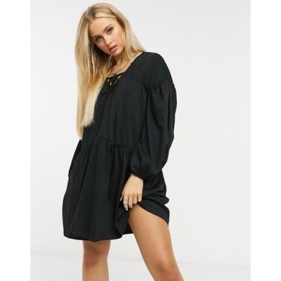 エイソス レディース ワンピース トップス ASOS DESIGN extreme tiered smock dress in black
