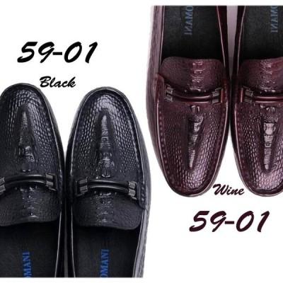 ビジネスシューズ メンズ 本革 スリッポン 革靴 Uチップ ローファー 59-01