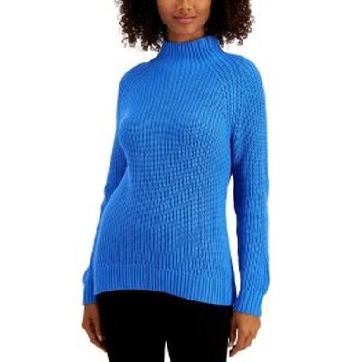 スタイルアンドコー レディース ニット&セーター アウター Plus Size Funnel-Neck Sweater, Created For Macy's Palace Blue