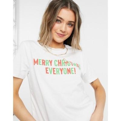 エイソス レディース Tシャツ トップス ASOS DESIGN christmas t-shirt with merry slogan in white White