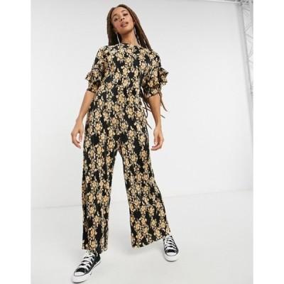 エイソス レディース ワンピース トップス ASOS DESIGN frill back and sleeve plisse tea jumpsuit in mustard floral
