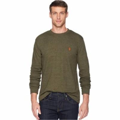 ユーエスポロアッスン U.S. POLO ASSN. メンズ 長袖Tシャツ トップス Long Sleeve Crew Neck Solid Thermal Shirt Army Heather