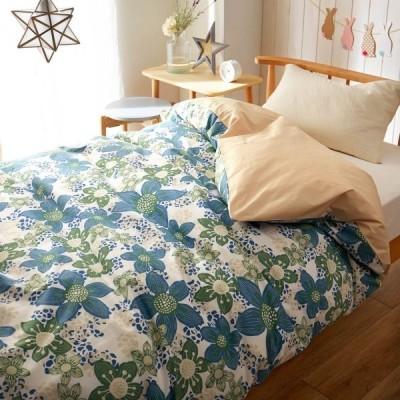 布団カバー 掛け布団カバー 綿100%発色が美しい花柄の布団カバー リンド ブルー