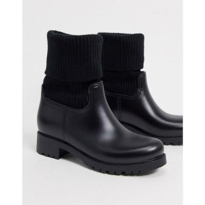 エイソス ASOS DESIGN レディース レインシューズ・長靴 シューズ・靴 Asos Design Gabrielle Sock Wellies In Black ブラック