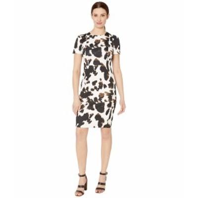 カルバンクライン レディース ワンピース トップス Short Sleeve Animal Print Sheath Dress Black Multi